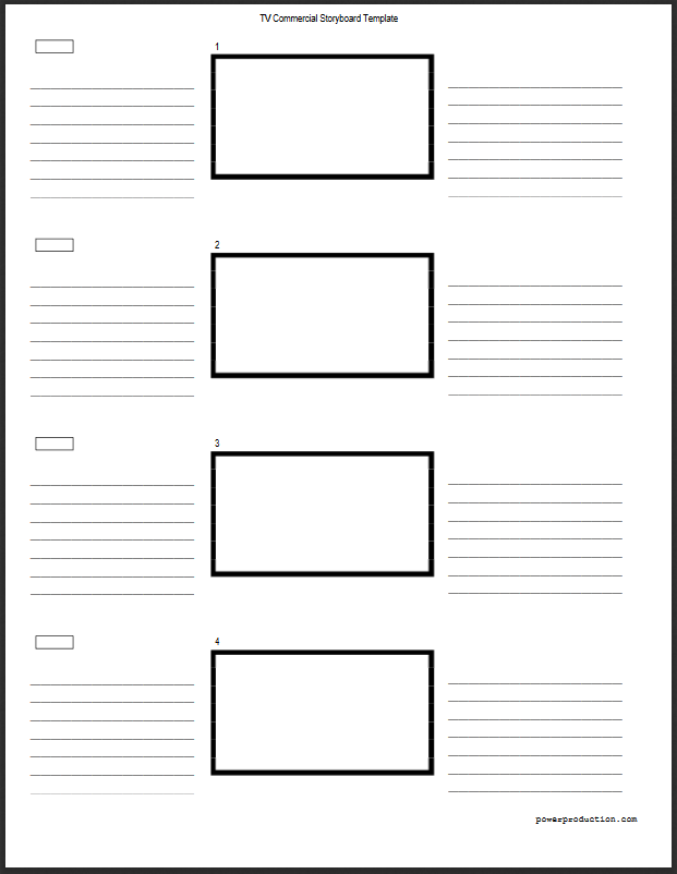 Tv Commercial 3 Column Vertical Storyboard Template